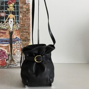 Vintage USA Coach Black Leather Small Bucket Bag
